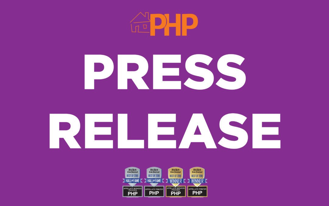 PrintingHouse Press (PHP) Wins Best Appellate Services Provider and Best Appellate Printer For Second Consecutive Year