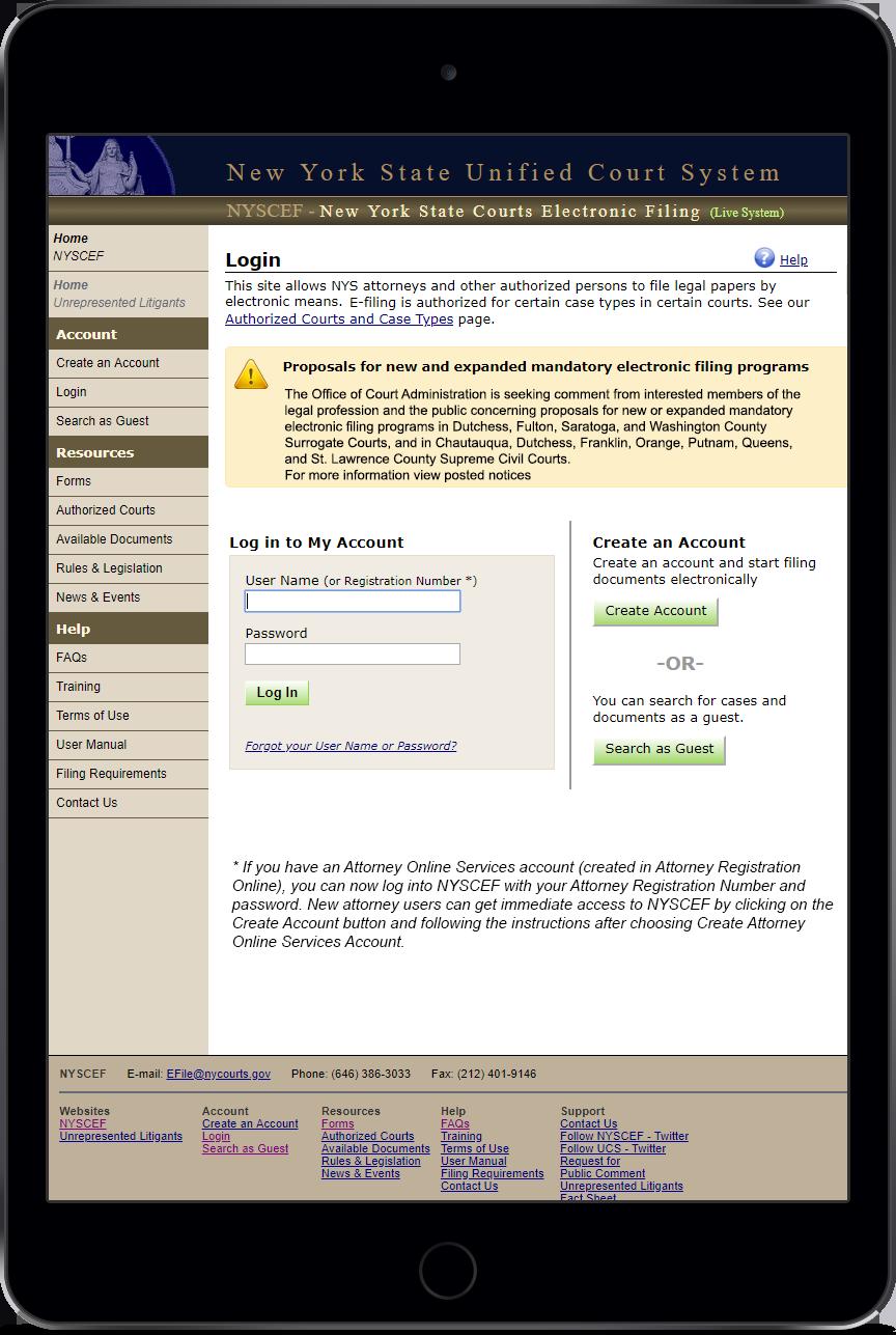 E-filing - PHP
