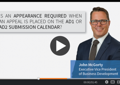 Is an Appearance Required When an Appeal is Placed on the AD1 or AD2 Submission Calendar?