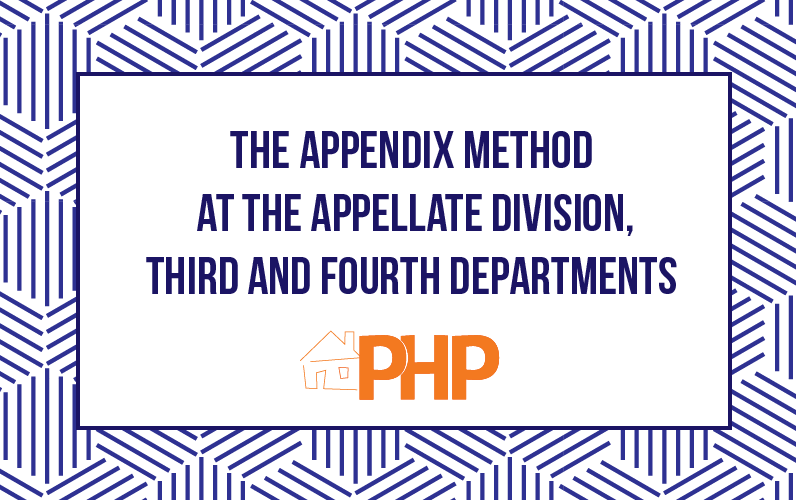 The Appendix Method at the Appellate Division, Third and Fourth Departments