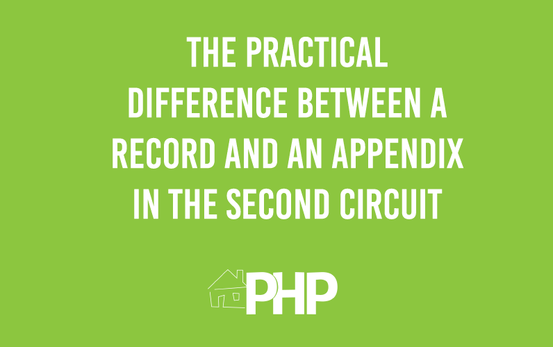 The Practical Difference Between a Record and an Appendix in the Second Circuit
