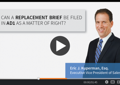 Can a Replacement Brief be Filed in the Appellate Division First Department as a Matter of Right?