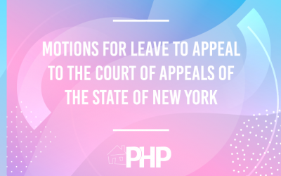Motions for Leave to Appeal to the Court of Appeals of the State of New York