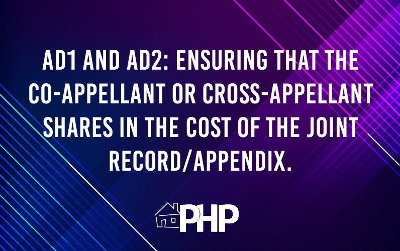 Appellate Division, First and Second Departments: Ensuring that the Co-Appellant or Cross-Appellant Shares in the Cost of the Joint Record/Appendix.