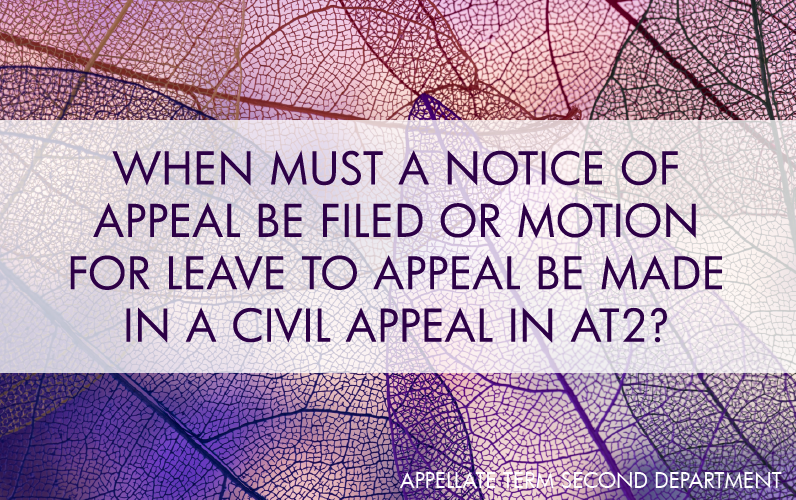 When Must a Notice of Appeal be Filed or Motion for Leave to Appeal be Made in a Civil Appeal in AT2?