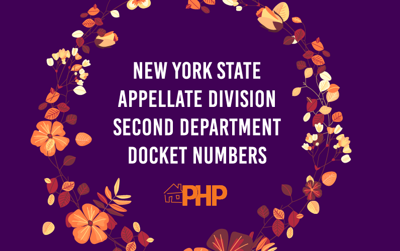 New York State Appellate Division Second Department Docket Numbers