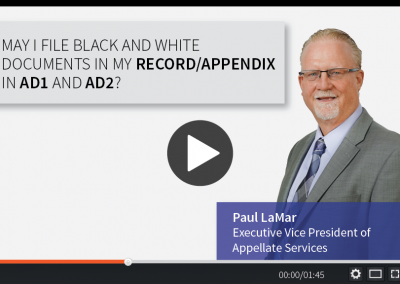 May I File Black and White Documents in my Record/Appendix in AD1 and AD2?