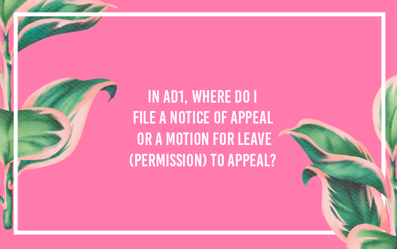 In AD1, where do I file a notice of appeal or a motion for leave (permission) to appeal?