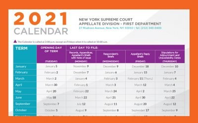 Appellate Division, First Department Releases the 2021 Term Calendar